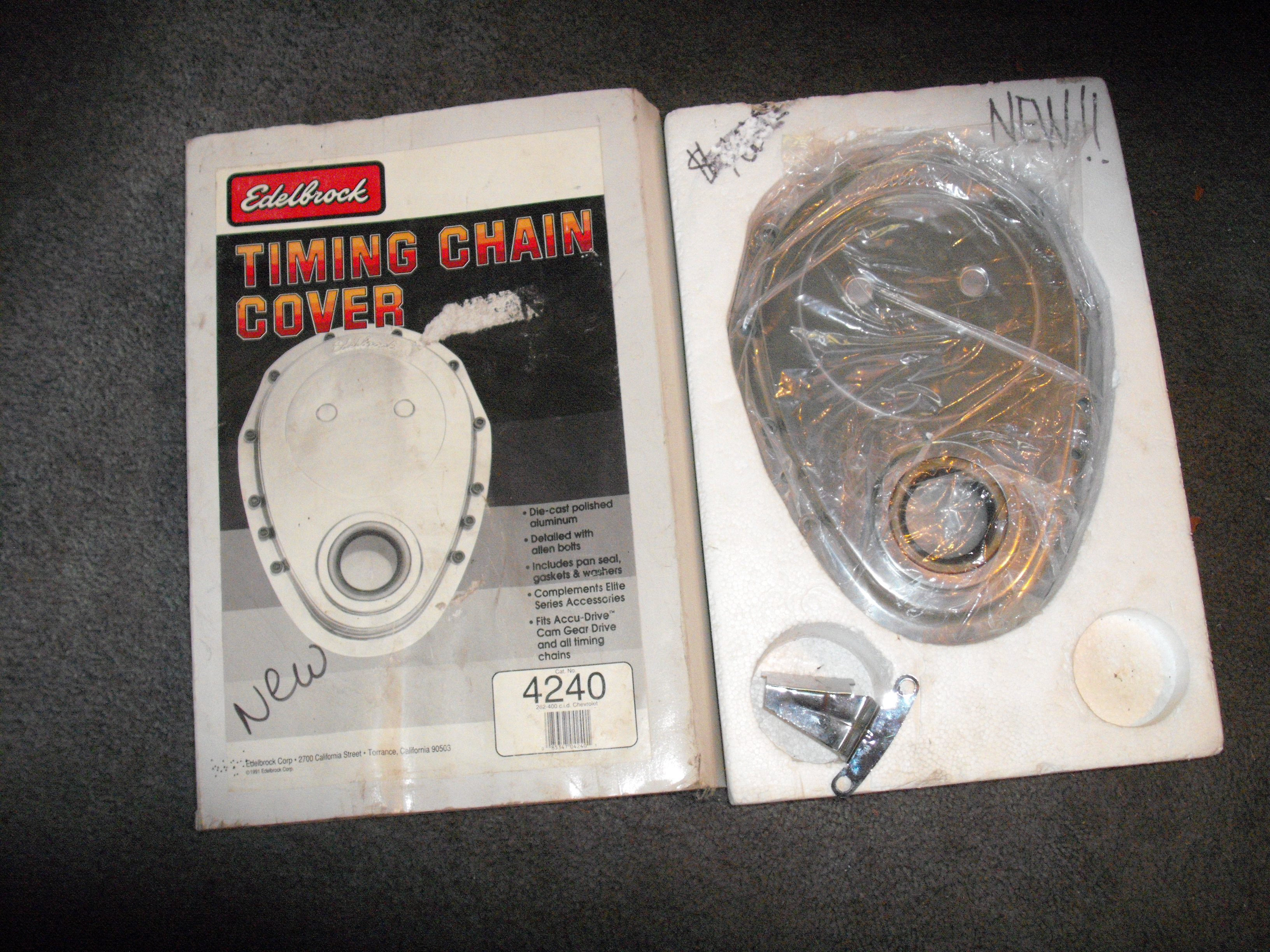Timing Chain Cover Small Block Chevy Edelbrock Cast alum $75.00